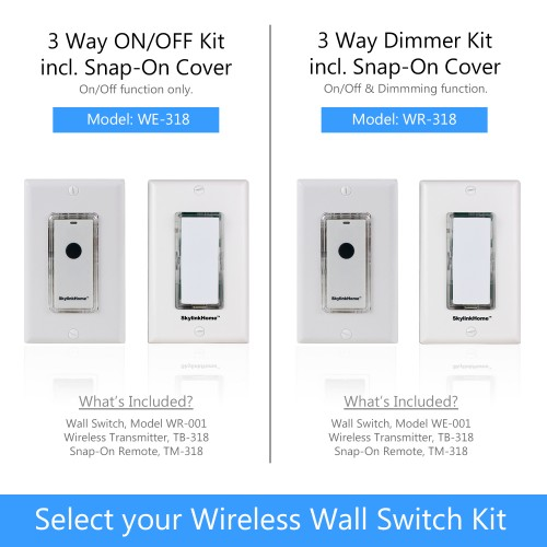 skylinkhome wr 318 on off dim wall switch receiver with snap on remote easy installation. Black Bedroom Furniture Sets. Home Design Ideas